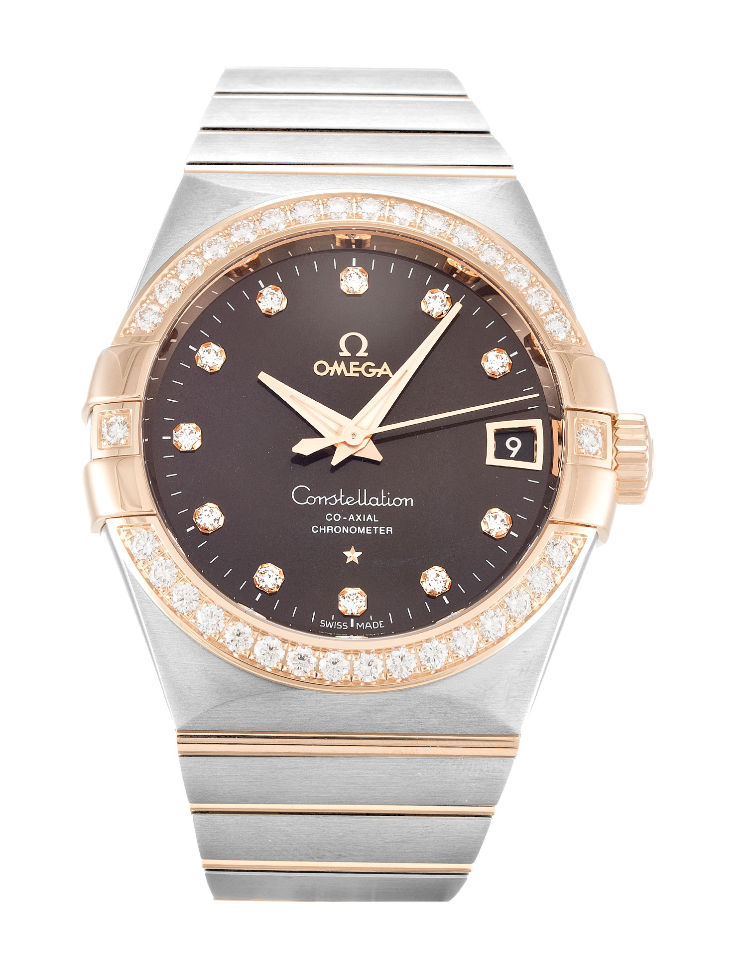 Omega Constellation Chronometer 123.25.38.21.63.001 Mens 38 Mm Rose Gold & Steel Set With Diamonds Case Automatic Co-axial Movement – iapac.to